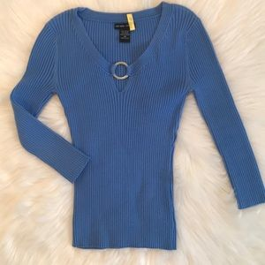 New York & Company Blue Stretchy Top Size XS